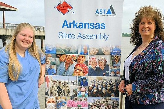 ARSA President Cindy Lewis (right) stands with Daniel Castleberry Memorial Scholarship winner Tabitha Conner (left).